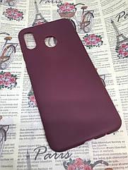 Чехол силиконовый для Samsung Galaxy A20 2019 (A205F) матовый бордовый