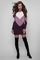 Женское вязаное платье «Риммана» (44-48   Светло-серое, фиолетовое, марсала, темно-серое)