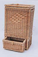 Ящик большой с шухлядой плетеный натуральный | корзина плетеная для хранения из лозы | Ящик из лозы