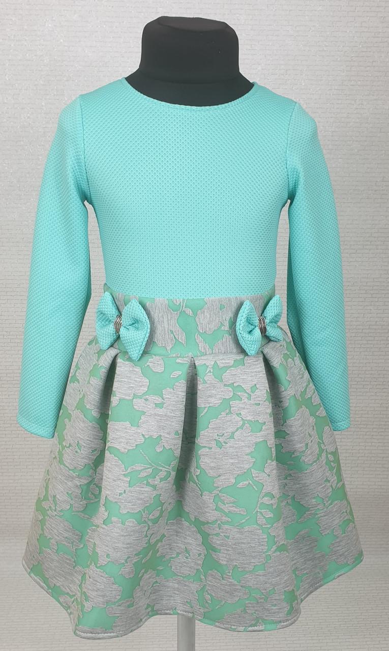 Платье для  девочки Велина 104-116 мята+ серый
