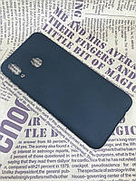 Samsung Galaxy A20 2019 (A205F) цветной матовый силиконовый ультратонкий чехол/ бампер/ накладка черный