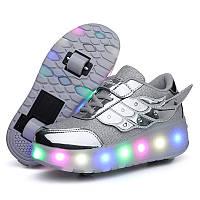 Роликовые кроссовки с LED подсветкой, серебро на 2-х колесах, размер 30-38 (LR 1213)