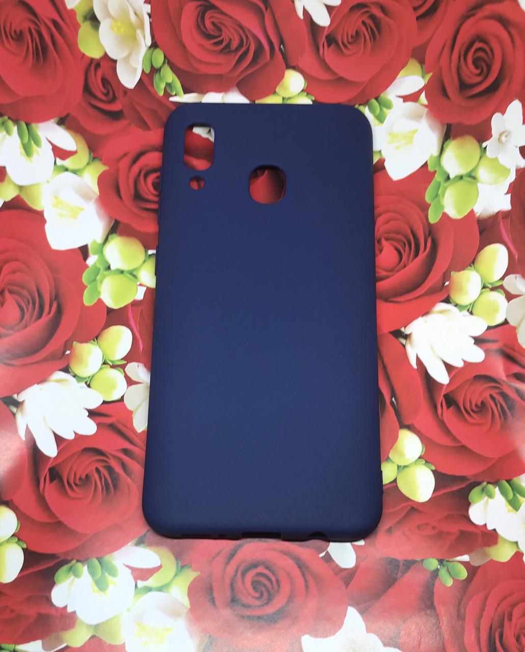 Samsung Galaxy A30 2019 (A305F) цветной матовый силиконовый ультратонкий чехол/ бампер/ накладка синий