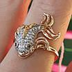 Золотое кольцо Рыбка - Женское кольцо золото и фианиты, фото 5
