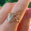 Золотое кольцо Рыбка - Женское кольцо золото и фианиты, фото 3
