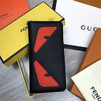 Трендовый Кожаный кошелек на молнии Fendi черный Премиум натуральная кожа клатч Брендовый Фенди реплика, фото 1