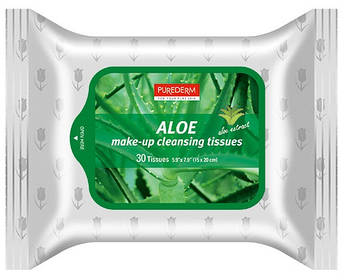 Очищающие салфетки для снятия макияжа с алоэ PUREDERM Make-up Cleansing Tissues Aloe 30 шт