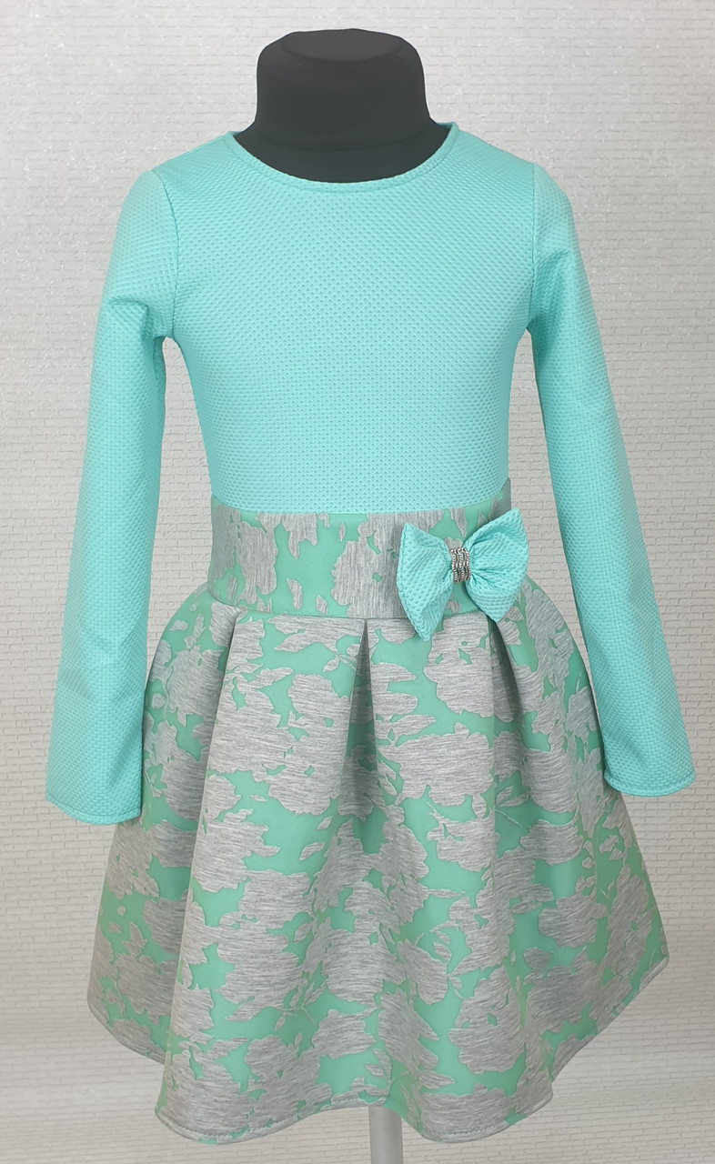 Платье для  девочки Велина 122-134  мята+ серый