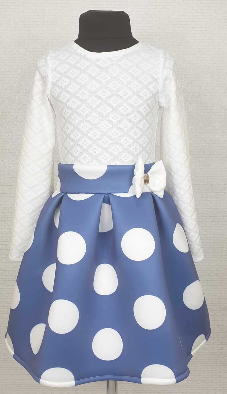Платье для  девочки Велина 122-134  белый+джинс