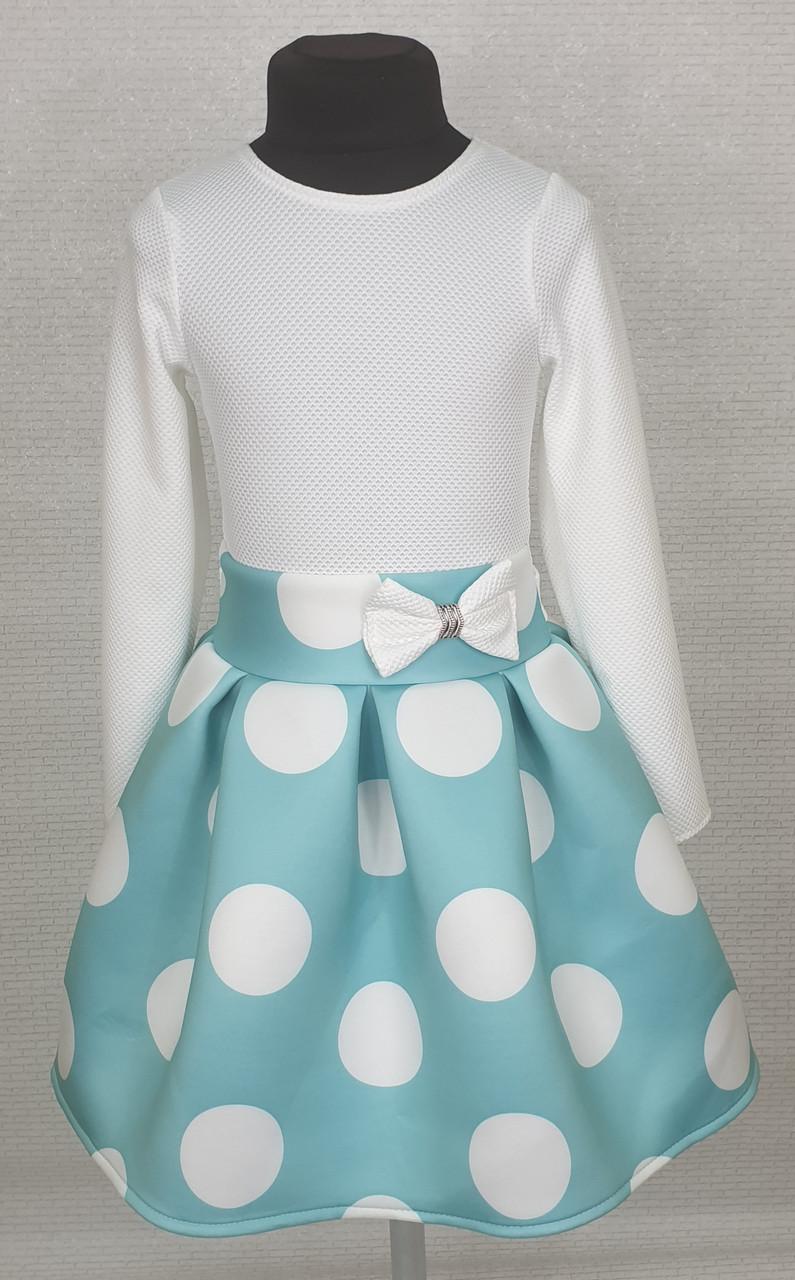 Платье для  девочки Велина 122-134  белый+мята