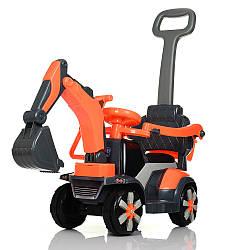 Трактор M 4141L-7 (1шт) 3в1(толокар,родит.ручка),1мотор25W, 1аккум6V4,5AH, муз, свет,кожа,оранж.