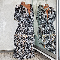 Большой размер (62-64). Эффектный длинный кружевной женский халатик, черно-белая пляжная туника парео, Лилия