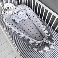 """Кокон (гнездышко) для новорожденных Warmo™ """"Совушки"""" Серый"""