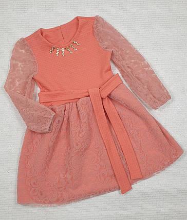 Нарядное Платье для девочки 122-140 персик, фото 2