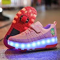 Роликовые кроссовки с LED подсветкой, розовый с фиолетовым на 2-х колесах, размер 28-35 (LR 1216)
