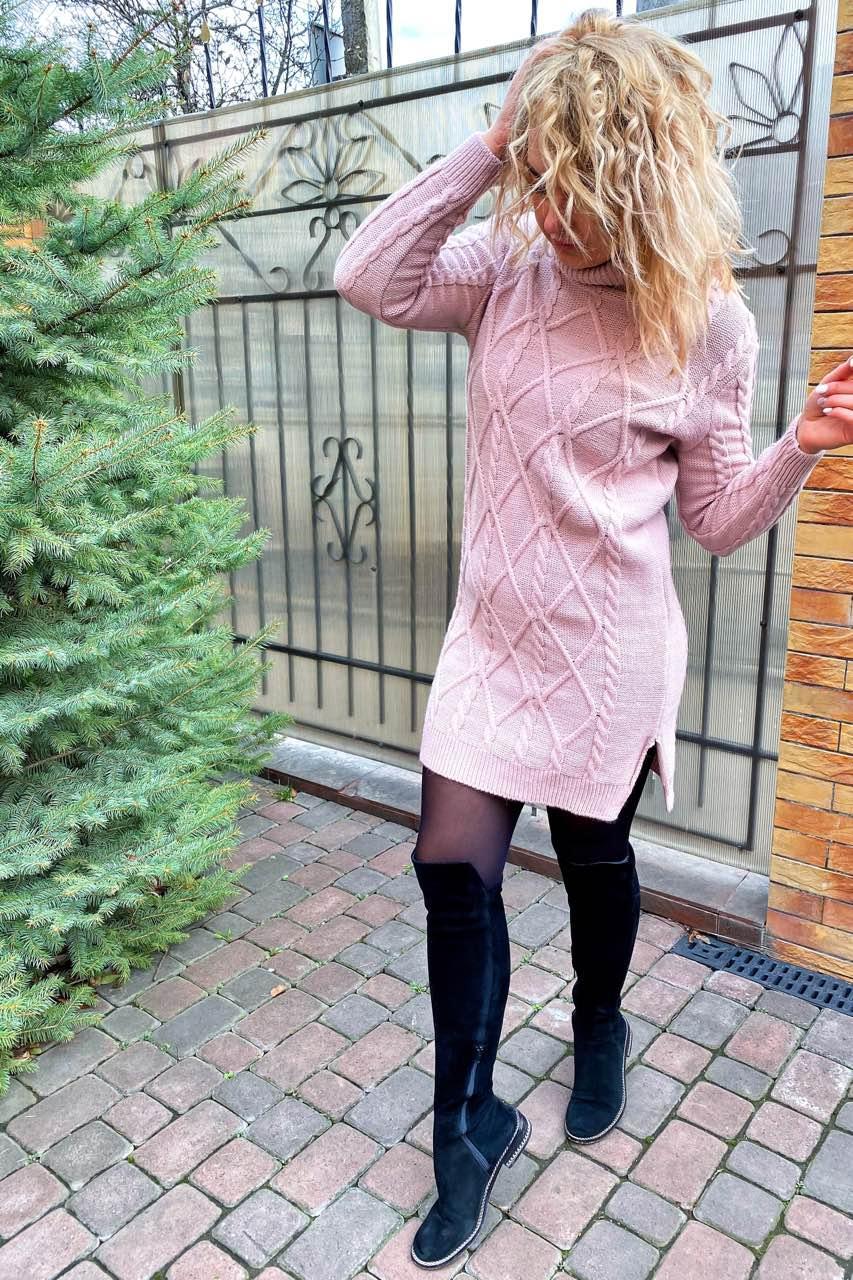 Теплое платье-туника с высоким воротом-горловиной.Разные цвета