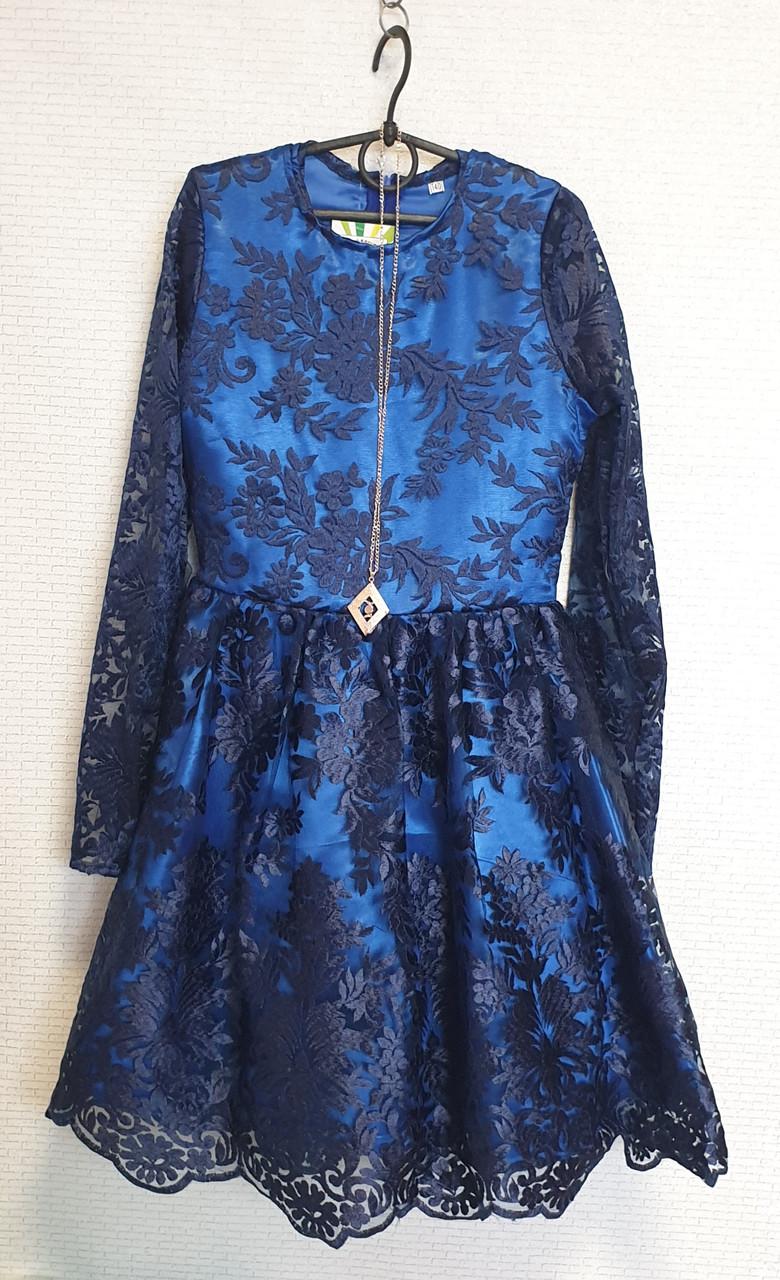Нарядное Платье для девочки Тая 140-152 темно-синий