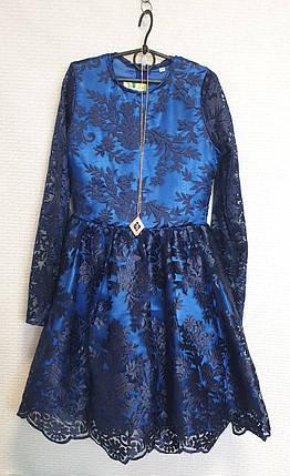 Нарядное Платье для девочки Тая 140-152 темно-синий, фото 2