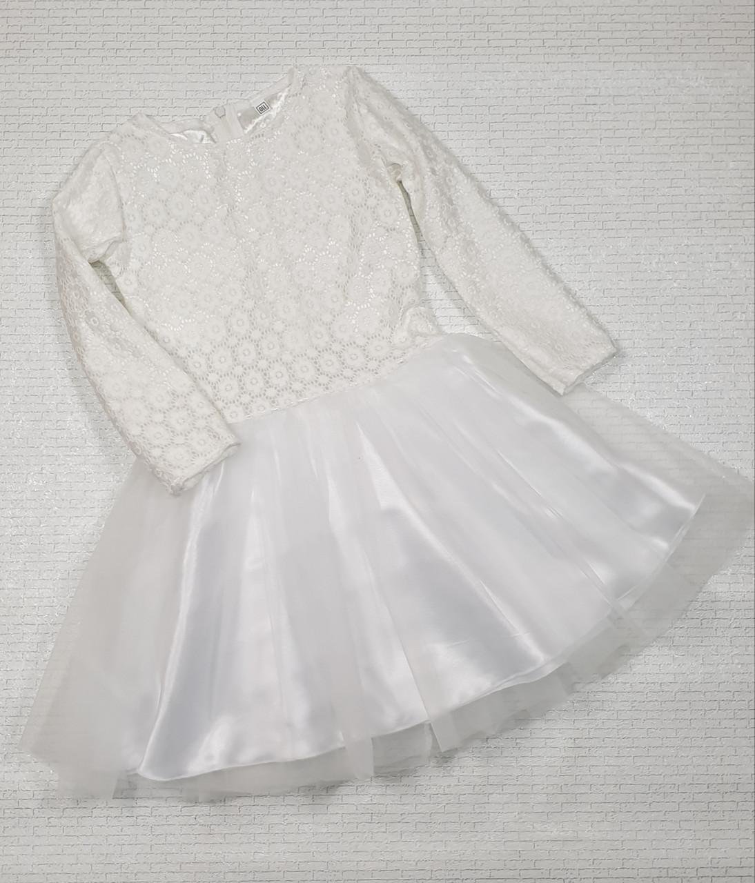 Детское нарядное платье Ромашечка 92-110 белый