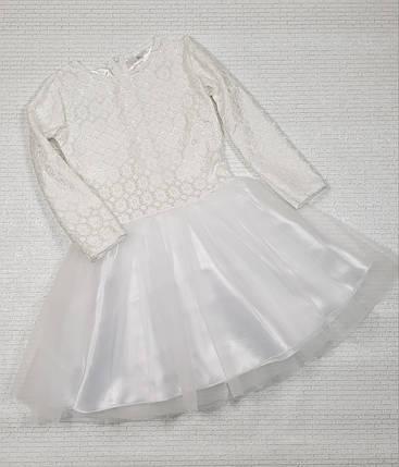 Детское нарядное платье Ромашечка 92-110 белый, фото 2