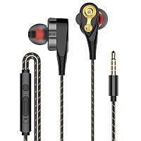 Вакуумные стерео наушники гарнитура проводные с регулировкой громкости и микрофоном 4B. Навушники для телефону