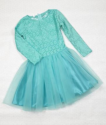 Детское нарядное платье Ромашечка 92-110 мята, фото 2