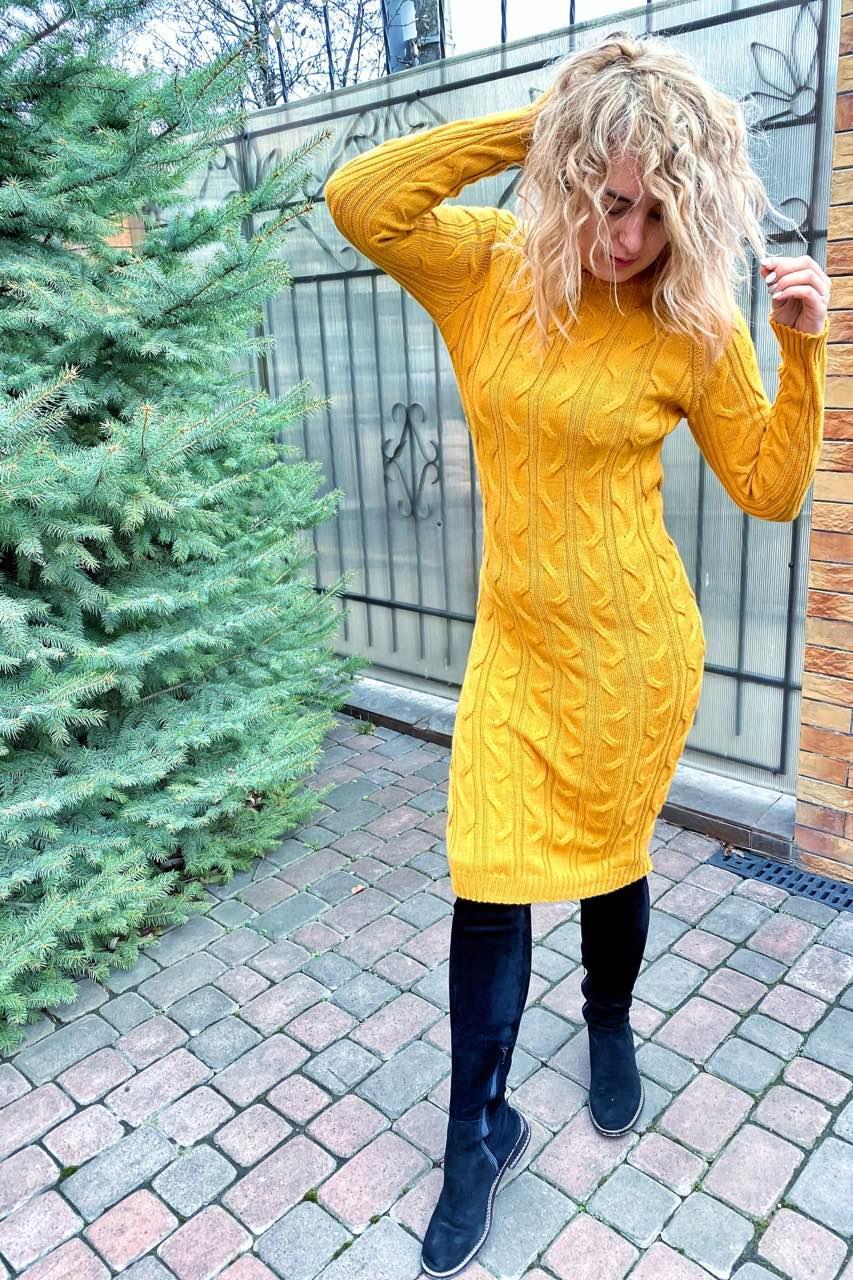 Вязанное платье длины миди с красивой объемной вязкой.Разные цвета
