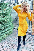Вязанное платье длины миди с красивой объемной вязкой.Разные цвета, фото 1