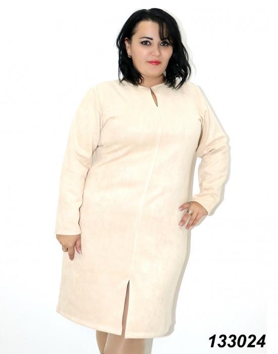 Стильное замшевое платье большого размерабелое 48-56р