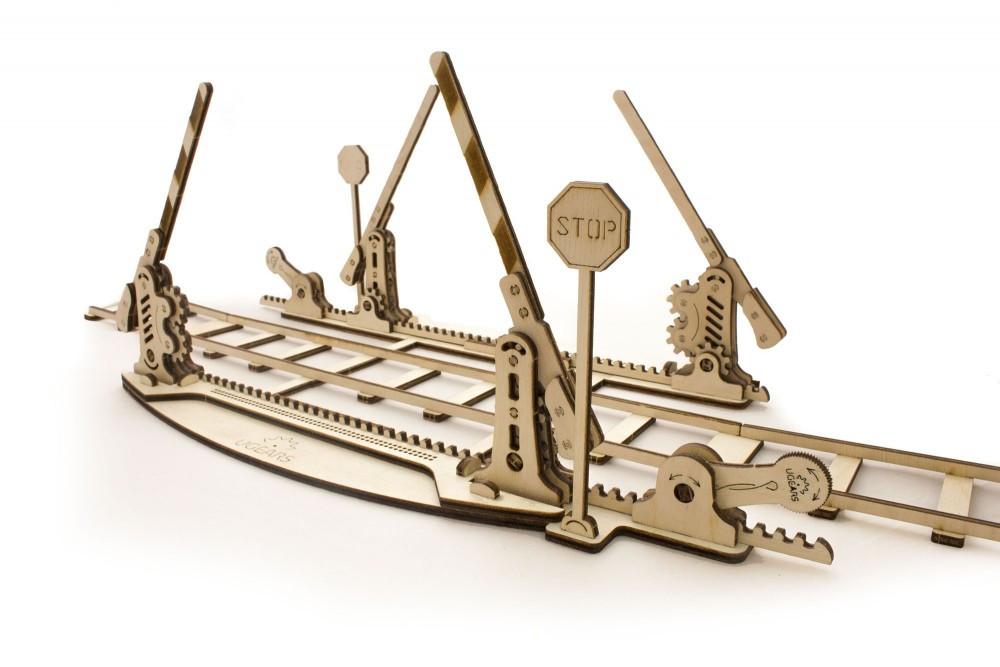 Рельсы с ж/д переездом | UGEARS | Механический 3D конструктор из дерева