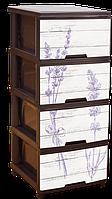 "Комод с рисунком Лаванда тёмно-коричневый 4 ящика ""Алеана"" + Видео"