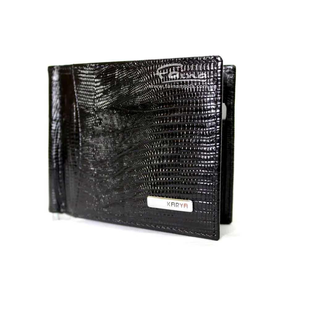 Зажим для денег кожаный черный Karya 0455-076