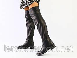 Зимние черные кожаные ботфорты
