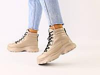 Женские зимние бежевые кожаные ботинки, фото 1