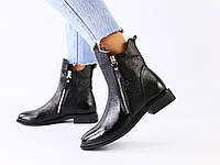 Женские черные зимние ботинки кожа наплак, фото 1
