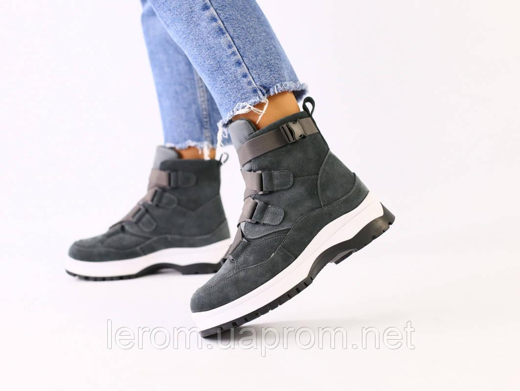 Женские зимние серые замшевые ботинки
