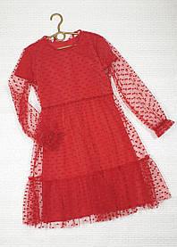 Нарядное воздушное  платье для девочки 146-158  красный