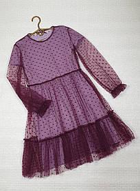 Нарядное воздушное  платье для девочки 146-158 фиалка+бордо