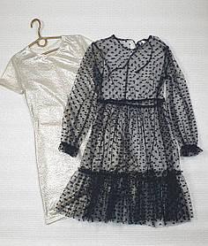 Нарядное воздушное  платье для девочки 146-158 золото + черный
