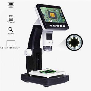 Цифровий мікроскоп Inskam 306 з дисплеєм 4.3 дюйма. Збільшення 0-1000Х. Світлодіодна підсвітка