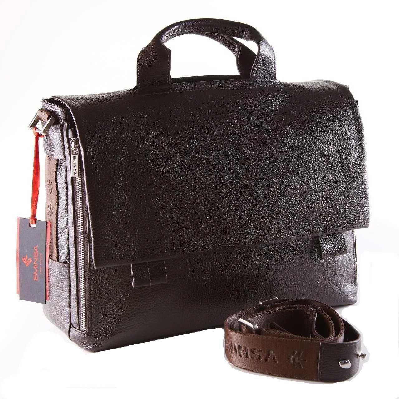 Мужской портфель из мягкой кожи Eminsa 7101-37-3 темно-коричневый