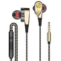 Вакуумные наушники с микрофоном Wired Headphone (000164-1) Gold