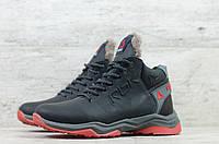 Мужские зимние ботинки на меху в стиле Reebok, натуральная кожа, натуральная шерсть, черные с красным *** 44 (29 см)