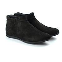 Зимние ботинки на цигейке черный нубук мужская обувь Rosso Avangard Elf Grasso Nub