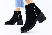 Женские демисезонные черные замшевые ботинки, фото 1
