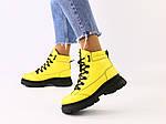 Женские зимние кожаные желтые ботинки