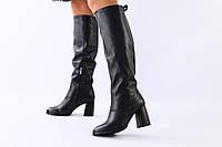Женские черные зимние сапоги на каблуке, фото 1