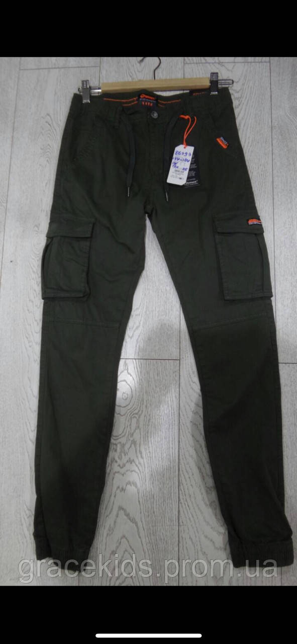 Модные котоновые брюки джоггеры для мальчиков с накладными карманами GRACE,разм 134-164 см