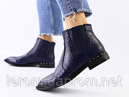 Женские синие кожаные ботинки деми