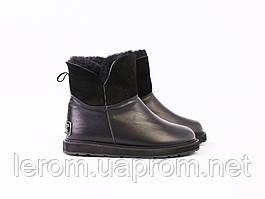 Угги кожаные черные с опушкой для девочки